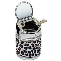 NEW unique Cylinder Animal Leopard Print Stainless Steel Cigarette Ashtray