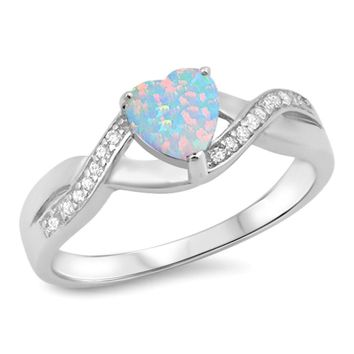 Choose Color Womens Heart Infinity Promise Ring Rhodium Plated Sterling Silver Heart Infinity Promise Ring Simulated Opal
