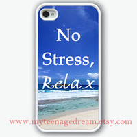 white iPhone 4 Case, iphone 4s case, no stress, relax iphone case, the sea graphic iphone 4 case