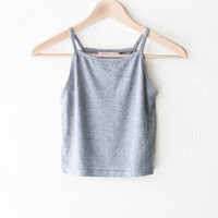 Knit Cropped Cami - Heather Grey