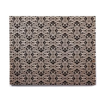 "Mydeas ""Diamond Illusion Damask Black & White"" Pattern Birchwood Wall Art"