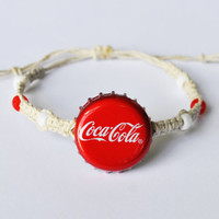 Coca-Cola Soda Recycled Bottle Cap Bracelet, Hemp Bracelet, red jewelry, soda bottle cap, soda cap, coke