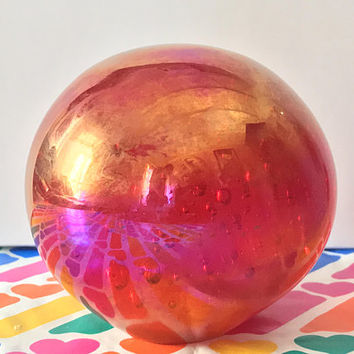Stunning Huge Crystal Ball / Glass Art Home Decor / Red Pink Orb with Lustrous Golden Glow / 1960s Mid Century Mod Glass Paperweight /