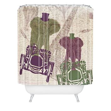 Belle13 Two Elephants In Paris Shower Curtain