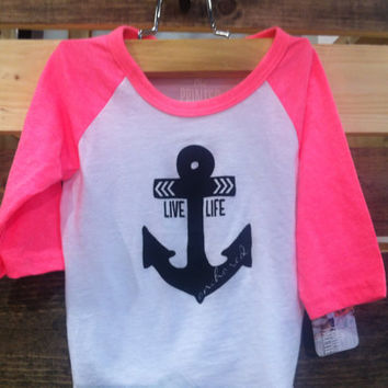 Live Life Anchored Baby Baseball Tee Neon Pink by PrintedPalette