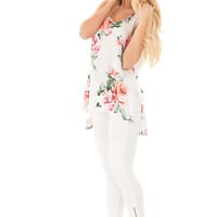 Off White Floral High-Low Sleeveless Top with Keyhole Back