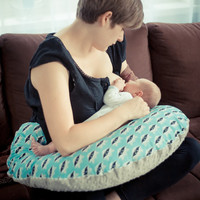 Custom products ! Big Nursing Pillow Boppy Breastfeeding Newborn Pillow Support Pillow New Mom Pillow +  Cover With Zipper