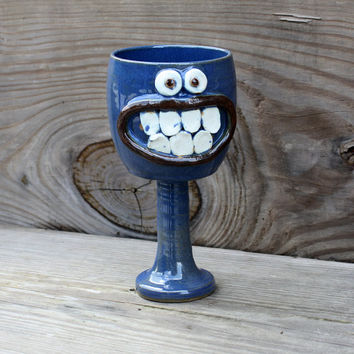 Goblet. Stoneware Pottery in Blue. Funny Wine by NelsonStudio