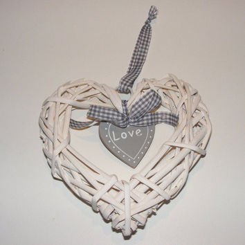 Heart door decoration, Heart wreath with love tag, Heart decoration, Door decoration with love tag, Heart twig decor, Heart twig wreath