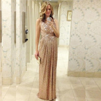2016 Sequins Bridesmaid Dresses Rose Gold/Champagne Floor Length Maid Of Honor Custom Made Maternity Pregnant  Long Plus Size