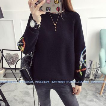Ladies New Fashion Autumn Winter Crew Neck Pullover Knit Sweater Loose Embroidery Phoenix Plume Knitwear Jumper
