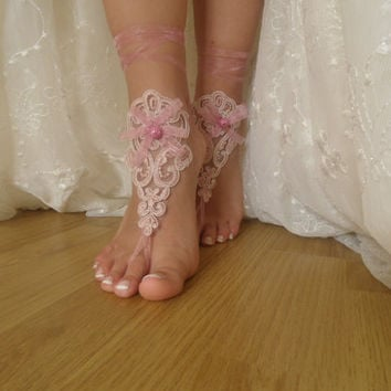 pink lace , Barefoot Sandals, french lace, Nude shoes, , Foot jewelry,Wedding, Victorian Lace, Sexy, Yoga, Anklet , Belly Dance