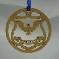 Poilice Officer Badge Christmas Ornament Handmade From Birch Wood