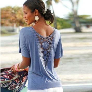 Hollow Short Scoop Loose Backless  Wrinkle T-shirt