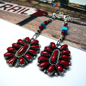 Zuni Inlay Coral Earrings Sterling Silver with Karen Hill Tribe beads and Tibetan coral