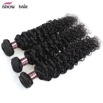 Brazilian Curly Hair 3 Bundles Human Hair Weave Extensions Ishow Hair Products Natural Non Remy Hair For Black Factory Price