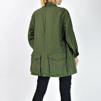70s Swedish Army Jacket / Khaki Military Combat Coat
