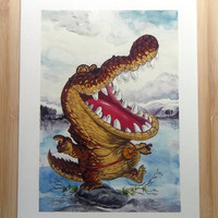 Gator Wobble, Fine Art Print, crocodile playing guitar, gouache and watercolour illustration.