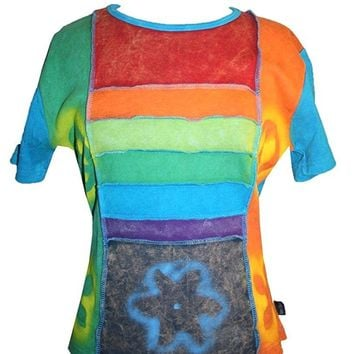 RT 201 Rib Cotton Funky Patch Peace Symbol Printed Yoga Top