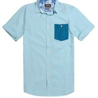 Modern Amusement Angel Solid Short Sleeve Woven Shirt - Mens Shirt - Blue -