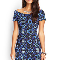 LOVE 21 Kaleidoscopic Boat Neck Dress Black/Blue
