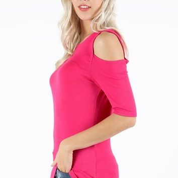 Pink Tunic Top Cold Shoulder Solid Fuchsia Shirt: S/M/L/XL