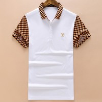 LV Louis Vuitton 2018 new business wind lapels cotton men's T-shirt F-A-KSFZ