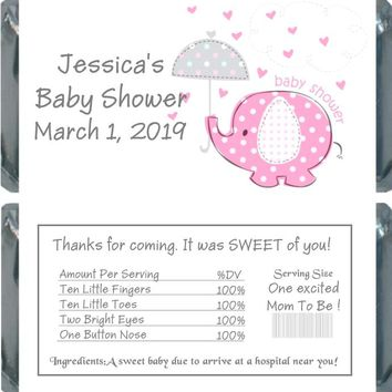 10 Pink Baby Elephant Baby Shower Chocolate Bar Wrappers