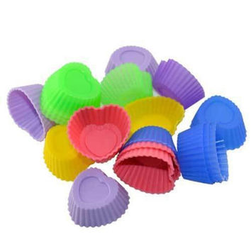 10X Sweet Heart Jello Ice Maker Dessert Muffin Cup Cake Silicone Baking Molds