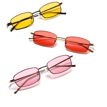 3459ab8a47 Trending Women Small Rectangle Sunglasses Popular Men Yellow Len