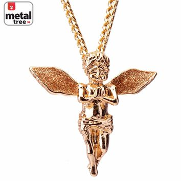 "Jewelry Kay style Men's Hip Hop 14K Gold Plated Baby Pray Angel Pendant 30"" Cuban Chain Necklace"