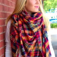 Black, Gold, Gray, Red, and Orange Blanket Scarf