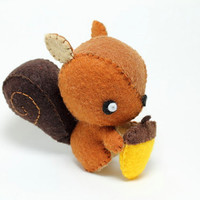 Patterns Felt Squirrel Plush by typingwithtea on Etsy