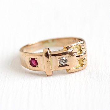 Antique Buckle Ring - 10k Rose Gold Old Mine Cut Diamond & Created Ruby Belt Band - Victorian Era Size 4 3/4 Symbolic Vintage Fine Jewelry