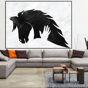 large Abstract art, large abstract paintings on canvas, horse abstract canvas art, black white painting canvas art, large wall art