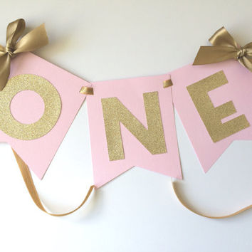 Pink and Gold ONE High Chair Birthday Banner