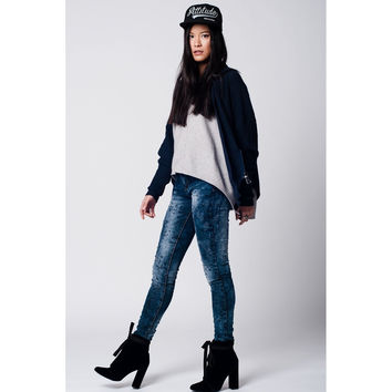 Navy blue knitted jacket with zip detail