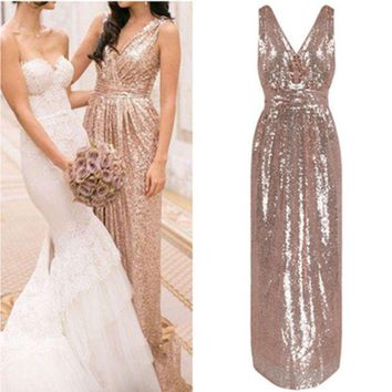 LMFON Fashion  Solid Color Sequin Deep V Sleeveless Maxi Dress Bridesmaids Evening Dress