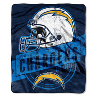 San Diego Chargers NFL Royal Plush Raschel Blanket (Grand Stand Raschel) (50in x 60in)