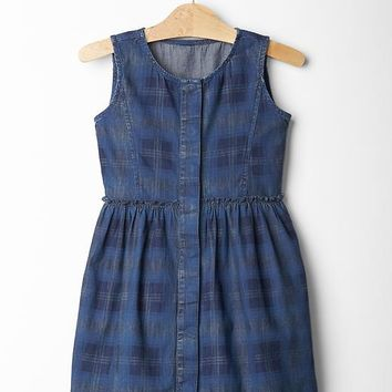 Gap Girls Plaid Chambray Dress