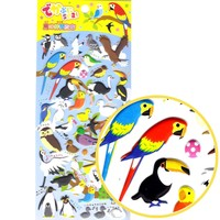 Tropical Birds Animal Themed Owl Flamingo Penguin Parrot Puffy Stickers for Scrapbooking