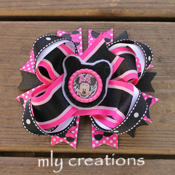 Minnie Mouse Hair Bow-Large Hair bow - Pink and Black, Minnie Mouse Hair Bow, Minnie mouse  headband, minnie birthday hair bow, pink minnie