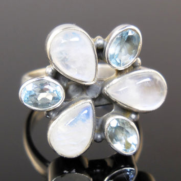 Moonstone & Blue Topaz Sterling Silver Ring - Size 8