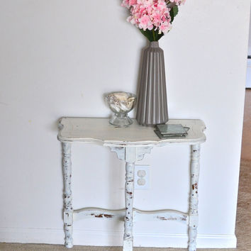 Vintage White Shabby Chic Distressed Entry Side Table Vanity