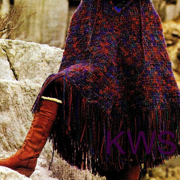 "Vintage 70's Crochet ""HOODED"" Poncho - PDF Pattern - Instant Download"