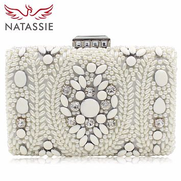 NATASSIE Fashion Pearl Beaded Evening Clutches Purses Designer Wedding Bags High Quality Dinner Party Bag With Chain