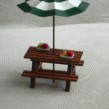 Fairy Garden Picnic Table Handcrafted - with miniature umbrella - fairy furniture - terrarium accessories miniature umbrella