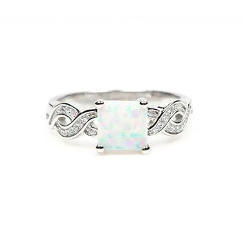 Sterling Silver Princess White Opal Twist Ring S&J
