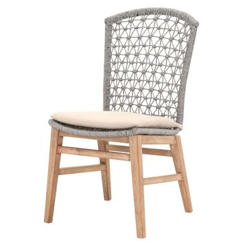 Lace Dining Chair (Set of 2) Platinum Rope, Light Gray Fabric