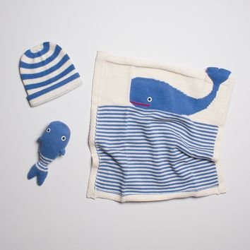 Organic Cotton Baby Gift Set - Blue Whale Lovey Blanket, Smiling Rattle & Striped Hat